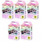 5 Packs Shiny Star FujiFilm Fuji Instax Mini Film, 50 Photos Polaroid 7S 8 70 X238