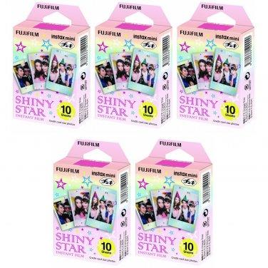 5 Packs Shiny Star FujiFilm Fuji Instax Mini Film, 50 Photos Polaroid 7S 8 70 X238