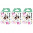 3 Packs Stripe FujiFilm Fuji Instax Mini Film, 30 Photos Polaroid 7S 8 70 X281