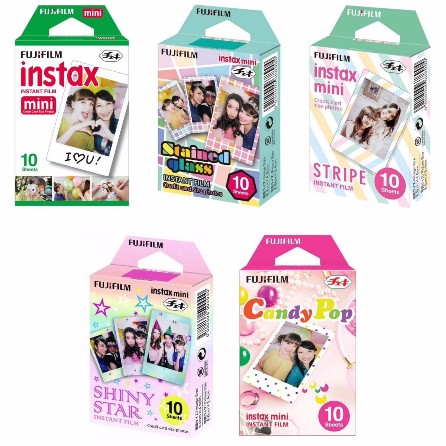Plain Glass Stripe Shiny Star Candy Pop FujiFilm Instax Mini 50 Photos Polaroid 7S 8 25 70 90