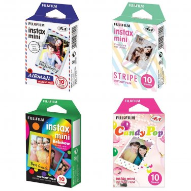 Airmail & Stripe & Rainbow & Candy Pop FujiFilm Instax Mini, 40 Photos Polaroid 7S 8 25 70 90