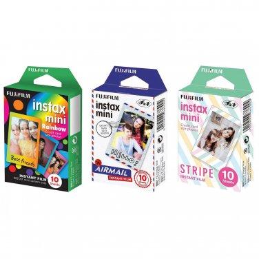 Rainbow & Airmail & Stripe FujiFilm Instax Mini, 30 Photos Polaroid 7S 8 25 70 90