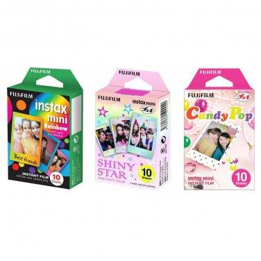 Rainbow & Shiny Star & Candy Pop FujiFilm Instax Mini, 30 Photos Polaroid 7S 8 25 70 90