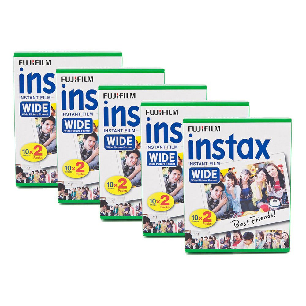 5 Packs 100 Instant Photos Fuji FujiFilm Instax Wide Film Polaroid Camera 200 210 X296