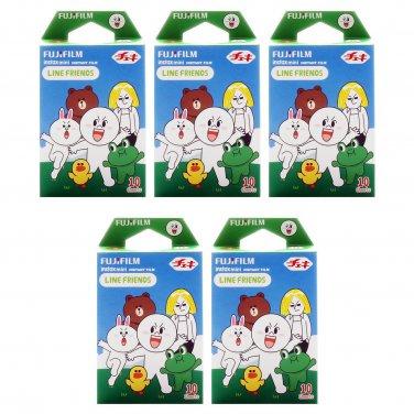 5 Packs Green Line Friends FujiFilm Fuji Instax Mini Film, 50 Photos Polaroid 7S 8 25 50S 70 X322