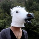 White Creepy Horse Head Face Animal Costume Halloween Party Props Carnival Mask