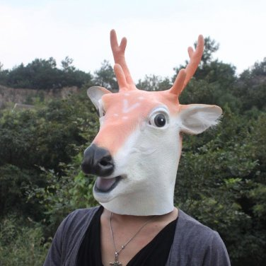 Creepy Deer Reindeer Head Face Animal Costume Halloween Party Prop Carnival Mask