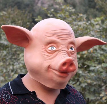 Creepy Pig Piggy Head Face Animal Costume Halloween Fun Party Prop Carnival Mask