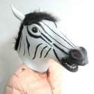Creepy Zebra Horse Head Face Animal Costume Halloween Party Props Carnival Mask