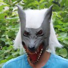 Gray Creepy Wolf Head Face Animal Costume Halloween Party Prop Carnival Mask