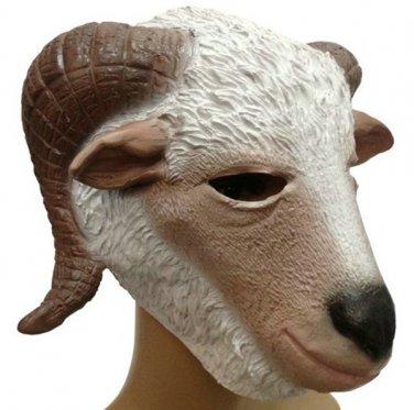 Creepy Goat Lamb Head Face Animal Costume Halloween Fun Party Prop Carnival Mask