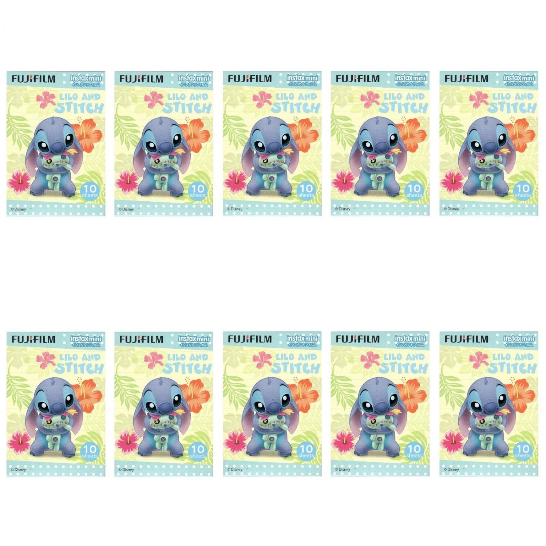 10 Packs 100 Photos Disney Lilo and Stitch FujiFilm Instax Mini Film Polaroid X380