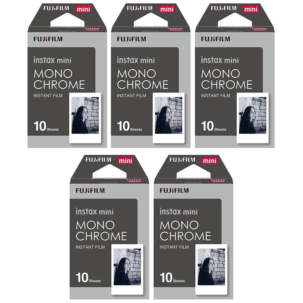 5 Packs 50 Photos Monochrome FujiFilm Fuji Instax Mini Film Polaroid 7S 8 SP-1 X390
