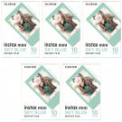 5 Packs 50 Photos Sky Blue Frame FujiFilm Fuji Instax Mini Film Polaroid 7S SP-1 X396
