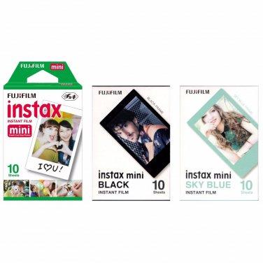 White & Black & Sky Blue Frame Fuji FujiFilm Instax Mini Film Polaroid 30 Photos