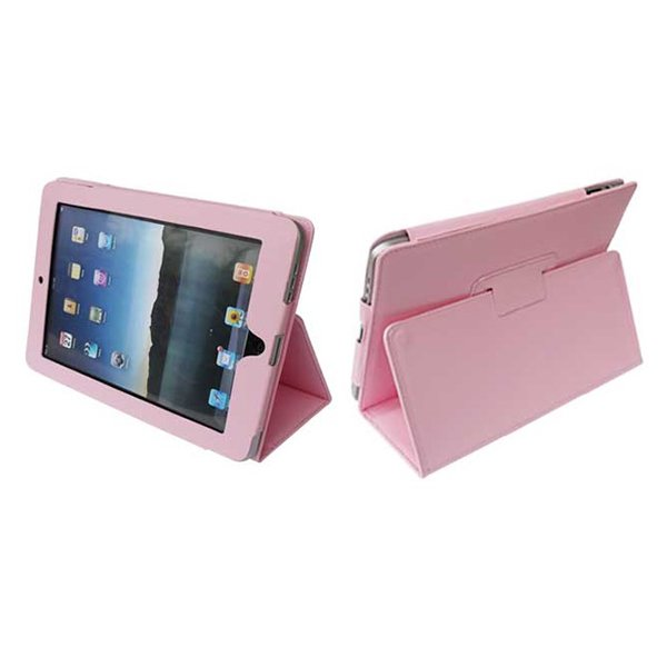 Pink Colour Synthetic Leather Skin Case Cover Pouch Protector Kickstand For Apple iPad 1 1st