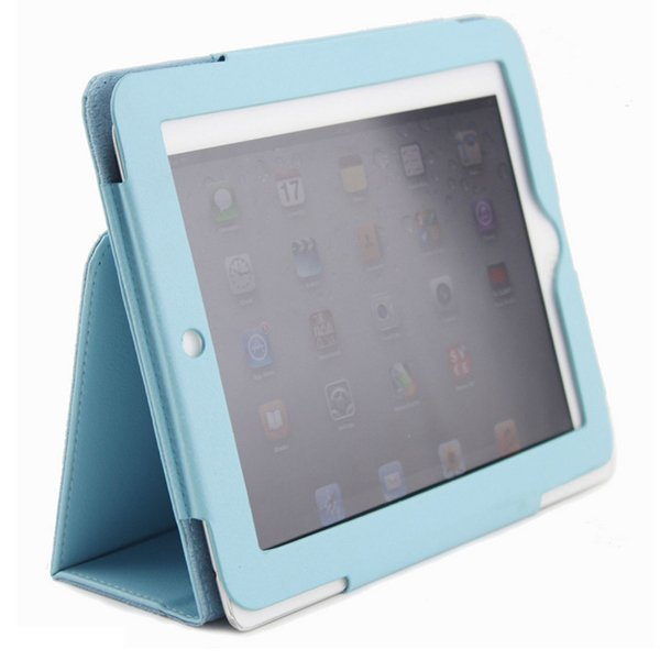 Sky Blue Colour Synthetic Leather Skin Case Cover Pouch Protector Kickstand For Apple iPad 1 1st