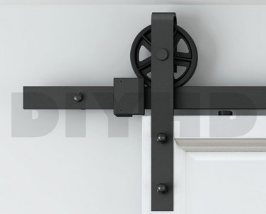 6.6ft Spoke industral wheel sliding barn door track kit