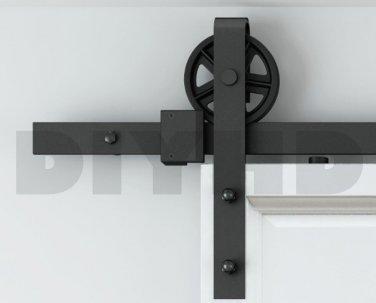8ft Spoke industral wheel sliding barn door track kit