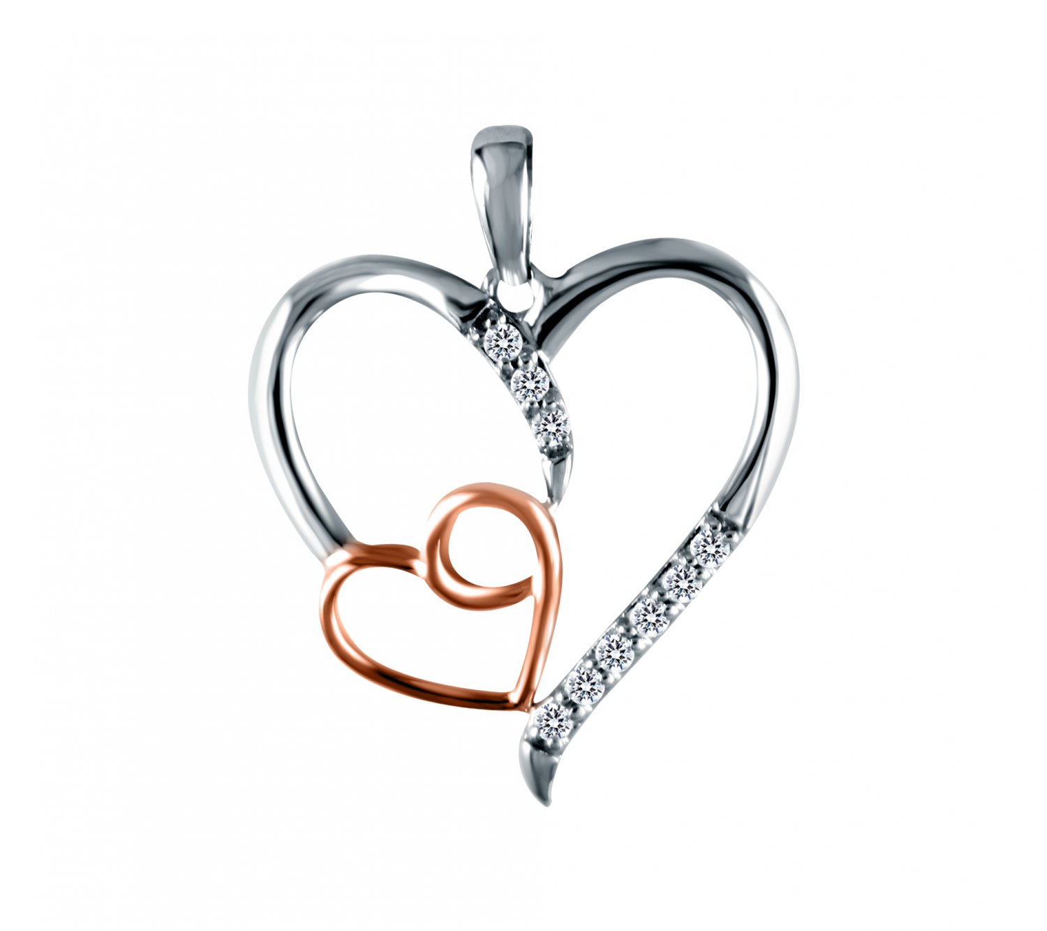 0.15ct CZ Sterling Silver Two-Tone Heart 14k Rose Gold Plated Pendant & Necklace (K1357-015W-CZ-SS)