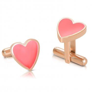 Poker Titanium Steel Rose Gold Plated Hearts Mens Cufflinks (POKERCUFFLINKS-ROSE)