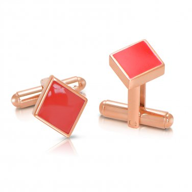 Poker Titanium Steel Rose Gold Plated Diamonds Mens Cufflinks (POKERCUFFLINKS-ROSE)