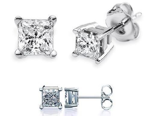 0.15 ct Princess Diamond Basket Solitaire 14k White Gold Baby Stud Earrings (P015W)