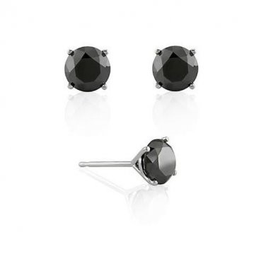 3.50 ct Black Diamond 14k White Gold Solitaire Martini Stud Earrings Set (E1050-350WB)