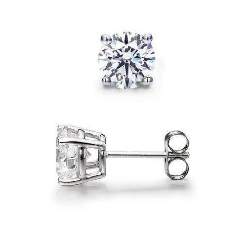 0.45 ct Round Diamond Solitaire Basket Single Stud Earring 14K White Gold (SR045W)