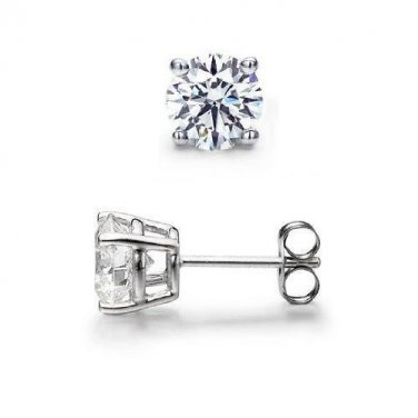 0.50 ct Round Diamond Solitaire Basket Single Stud Earring 14K White Gold (SR050W)