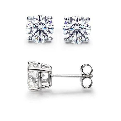 0.95 ct Round Diamond Basket Solitaire 14k White Gold Stud Earrings Set (R095W)