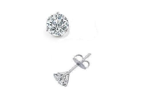 0.25 ct Round Diamond Solitaire Martini Single Stud Earring 14K White Gold (SR025W)