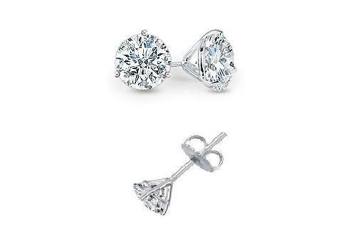 0.95 ct Round Diamond Martini Solitaire 14k White Gold Stud Earrings Set (R095W)