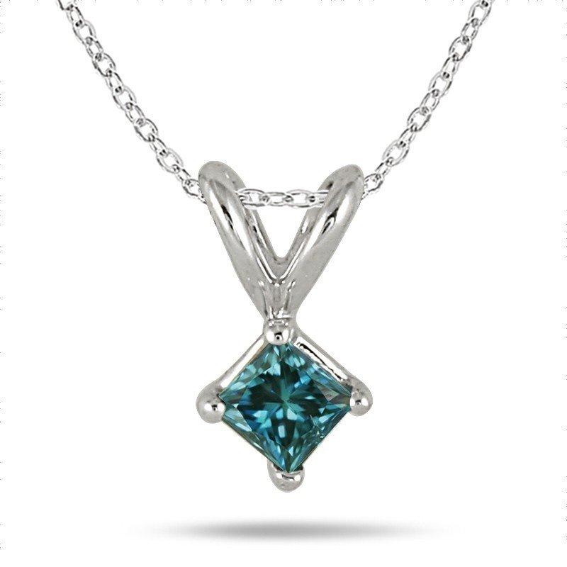 0.45 ct Blue I1 Princess Diamond Solitaire 14K White Gold Pendant Set + GIFT (K1243-PC-045WBL)