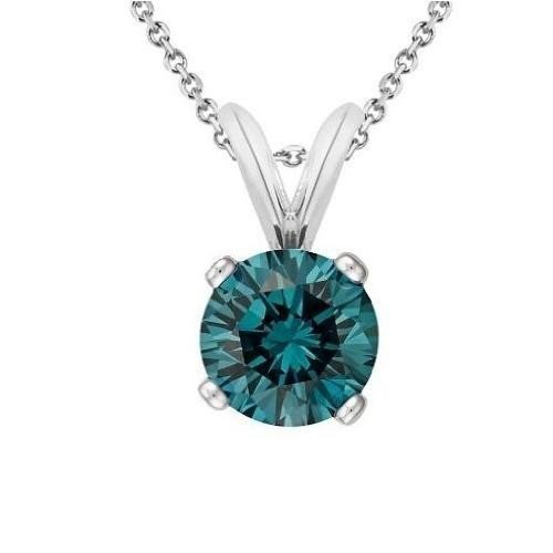 0.35 ct Blue I1 Round Diamond Solitaire 14K White Gold Pendant Set + GIFT (K1243-RD-035WBL)