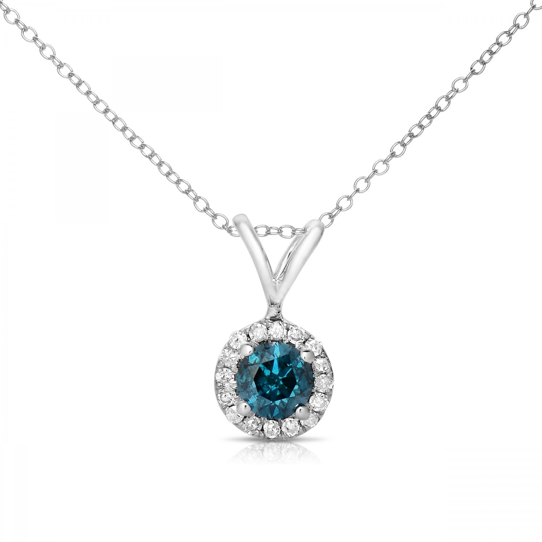 0.75 ct Round Blue Diamond Halo 14k White Gold Pendant Necklace Set (K1295-075WBL)