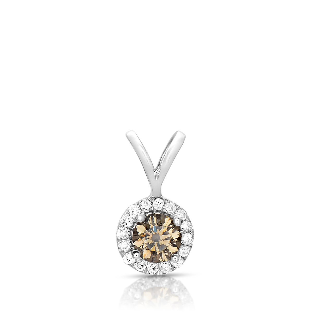 1 ct Chocolate Brown Diamond Halo 14k White Gold Pendant Necklace Set (K1295-100WBR)