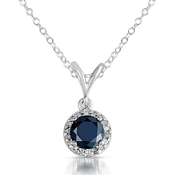 0.75 ct Black Diamond Solitaire Halo 14k White Gold Pendant & Necklace Set (K1295-075WB)