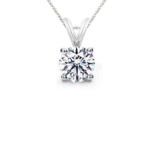 0.30 ct Round Diamond Basket Solitaire 14k White Gold Pendant + Necklace Set (KR030W)