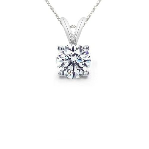 0.35 ct Round Diamond Basket Solitaire 14k White Gold Pendant + Necklace Set (KR035W)