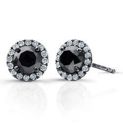 2 ct Black Round Diamond Halo Cluster Stud Earrings Set 14k White Gold (E1295-200WB)