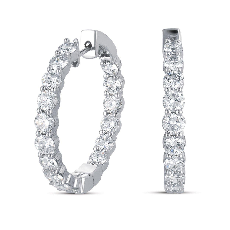 1 ct Round Diamond Inside Outside Hoop Huggie 14k White Gold Earrings + EXTRAS! (E911-100W)