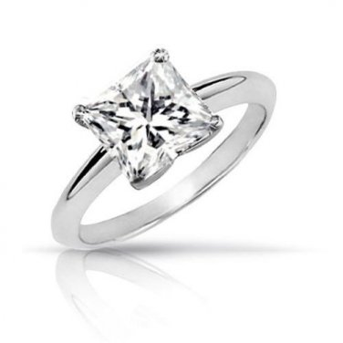 0.10 ct Princess Diamond Solitaire 14k White Gold Engagement Ring + EXTRAS (TSP010W)