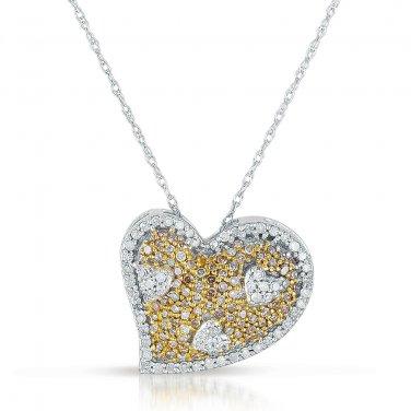 0.50 ct Brown Round Diamond Cluster Heart Pendant & Necklace Set 10K White Gold (K1249-050WBR-10KT)