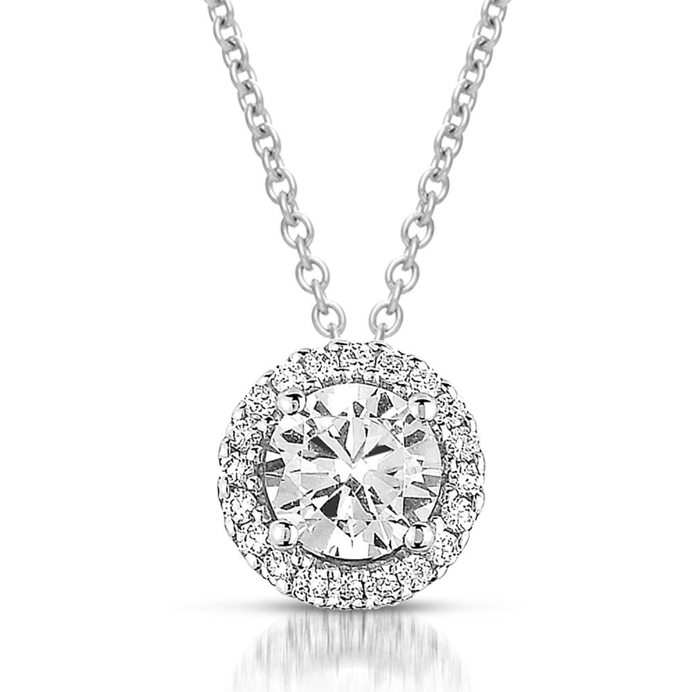 0.75 ct Round Diamond Solitaire Halo 14k White Gold Pendant & Necklace Set (K1295-075W)