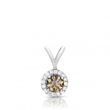 0.25 ct Chocolate Brown Diamond Halo 14k White Gold Pendant Necklace Set (K1295-025WBR)