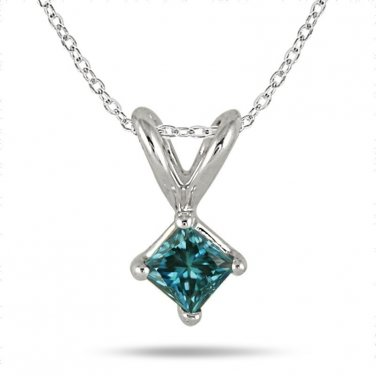 0.75 ct Blue I1 Princess Diamond Solitaire 14K White Gold Pendant Set + GIFT (K1243-PC-075WBL)