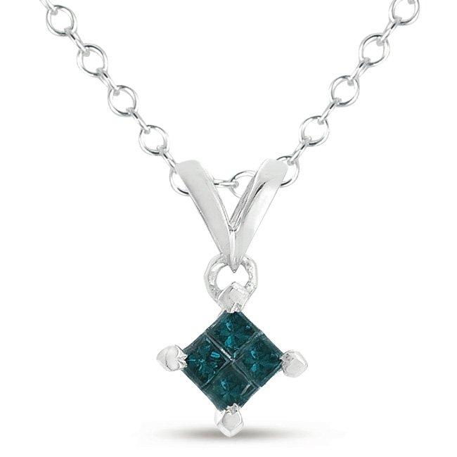 0.25 ct Princess Blue Diamond 10k White Gold Pendant + Necklace Set (K4-025WBL-10KT)