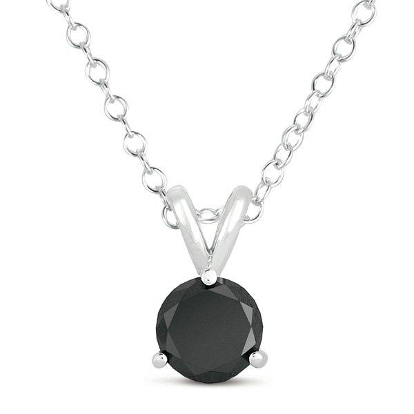 2 ct Solitaire Round Black Diamond 14k White Gold Rope Necklace + Pendant Set (K1050-200WB)
