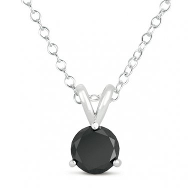 2.75 ct Solitaire Round Black Diamond 14k White Gold Rope Necklace + Pendant Set (K1050-275WB)